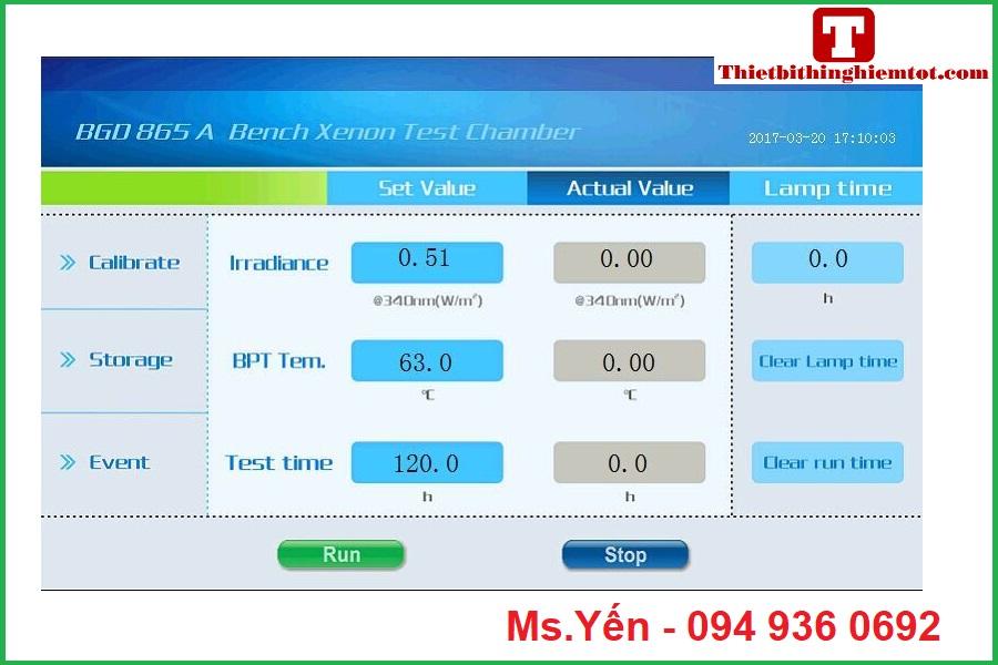 Phần mềm tủ đo độ bền môi trường BGD865